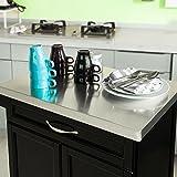 SoBuy® Luxus-Küchenwagen mit Edelstahltop, Küchenschrank, Kücheninsel,Schwarz, B66xT46XH92cm FKW13-SCH - 5