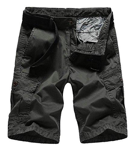 Gocgt Men Casual Solid Multi-Pocket Army Cargo Short
