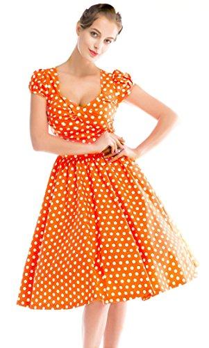 Eyekepper Robe femme demoisellede vintage robe cocktail a pois Orange