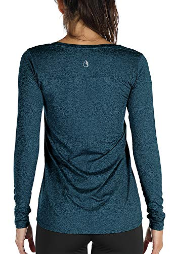 icyzone Damen Langarm Shirt Sport Funktionsshirt - Atmungsaktive Laufshirt Fitness Workout Longsleeve Tops mit Daumenloch (Royal Blue, M)
