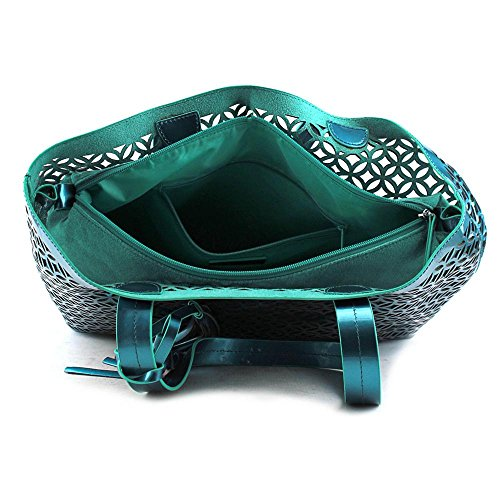 Buco Large Lattice Tote Femmes Synthétique Sac shopping Teal