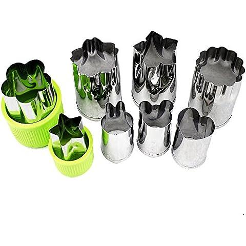 Verduras moldes formas molde Set (8piezas)–Mini cortadores de galletas, cortadores de fruta galleta formas molde de silicona para pasteles