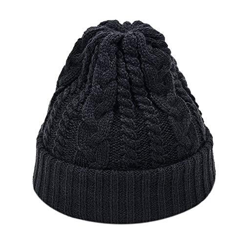 Oliviavan Beanie Hat Cap Beanie Mütze mit Falten Muster Unisex Männer und Frauen einfarbig Gestrickte Twist Wollmütze Mütze Kappe Warme Strick Strickmütze