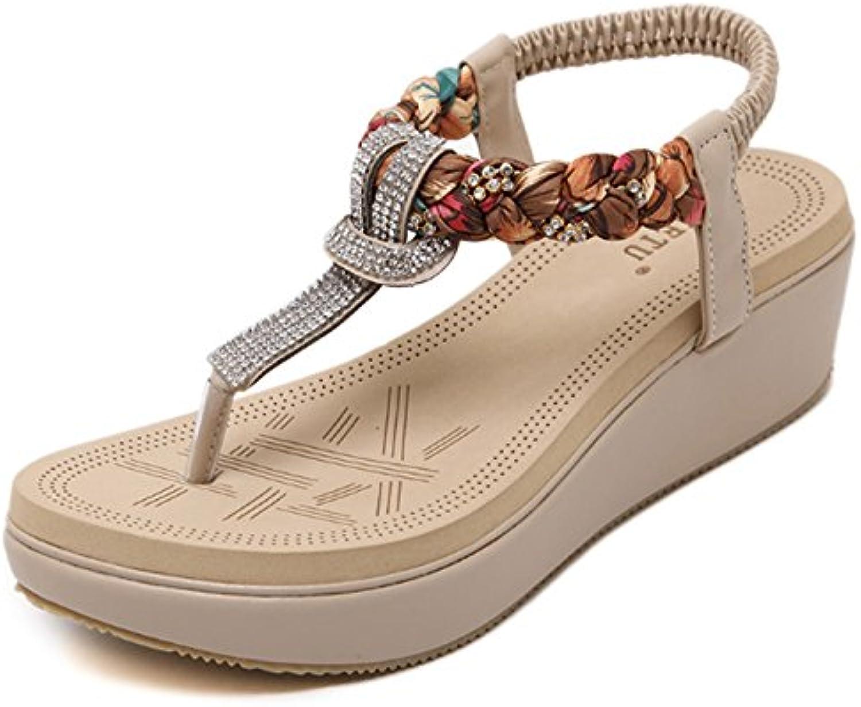 les chaussures de bohème strass, des coins bohème de tongs sandales chaussures de plage de grande taille et mesdames les filles l'été... b09644