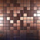 FLEXIPIXTILE Mosaik Fliese, Aluminium, zum Abziehen und Aufkleben, Backsplash, Akzentwand, Alter...