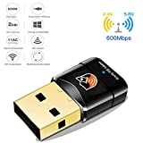 Looyat Wireless USB Wifi Adapter 600Mbit/s Dualband(2.4G/150Mbps+5G/433Mbps) Mini WLAN Stick mit WPS Taste für Windows