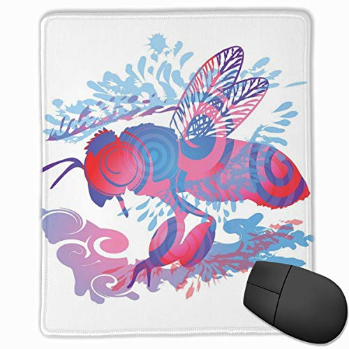 Preisvergleich Produktbild Mouse Mat Stitched Edges,  Abstract Bee Motif With Spiral Design Nature Inspired Illustration, Gaming Mouse Pad Non-Slip Rubber Base