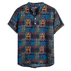 Yowablo Hemdbluse Mens Ethnic Short Sleeve Lässige Baumwolle Leinen Druck Hawaiian (3XL,15Blau)