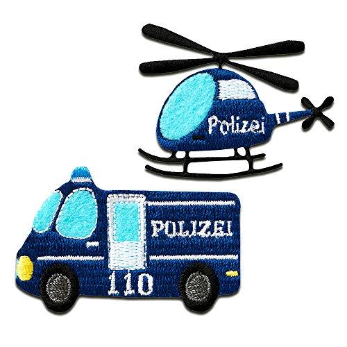 Aufnäher/Bügelbild - Polizei Auto Hubschrauber Kinder - blau - verschiedene Größen - Patch Aufbügler Applikationen zum aufbügeln Applikation Patches Flicken