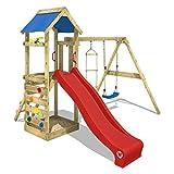 WICKEY Spielturm FreeFlyer Kletterturm mit Rutsche Schaukel Sandkasten Kletterwand Sandkasten, blaue Dachplane + rote Rutsche
