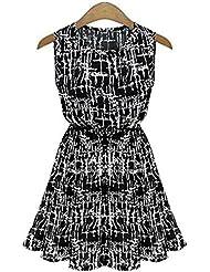 GWCSS Vestido De Gasa Sin Mangas De Cuello Redondo , Black , S
