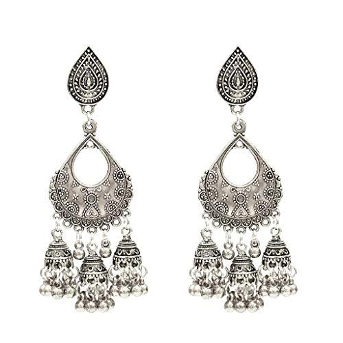 Sixcup® Bohemian Drop Earings for Womens Metall Ethnic Vintage böhmische Tibetan Earrings Geometrische Glocke Kreative Ohrringe Damenschmuck