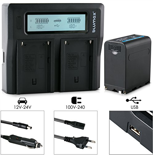 Blumax Akku für Sony NP-F980 / F970 / F750 / F550 / F960 - LG Zellen - 7850mAh mit 5V USB Ausgang (Powerbankfunktion) und DC Strom-Eingang + Doppelladegerät Dual Charger