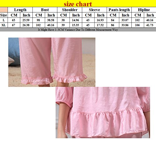 Zhhlinyuan Womens Fashion Nightwear Set Summer 2 Piece Princess Sleeves Pyjamas Rose Red
