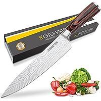 Asmeten Couteau de Chef Professionnel Couteau de Cuisine 20cm Lame en Acier Inoxydable avec Poignée Ergonomique Anti Dérapante