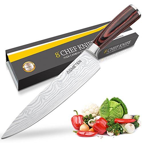*Kochmesser Küchenmesser 20cm Profi Messer Chefmesser Allzweckmesser aus rostfreiem Stahl, Extra Scharfe Messerklinge mit ergonomischer Griff – Asmeten*