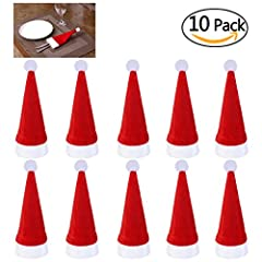 Idea Regalo - NICEXMAS 10 Pezzi Natale Tappi Posate Titolare Forchetta Cucchiaio Tasca Natale arredamento Borsa