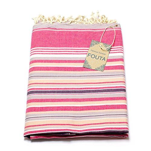 Fouta Hamam-Tuch Sauna-Tuch Pestemal XXL Extra Groß 197 x 100cm - 100% Baumwolle aus Tunesien als Strand-Tuch, für Bad, Picnic, Yoga, Schal (Orientalisches Türkisches Bade-Tuch) (Mehrfarbig Rosa) (Damen-frottee-liege)