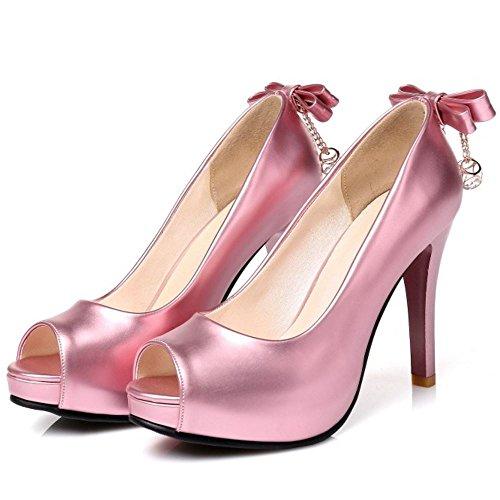TAOFFEN Femme Mode Peep Toe A Enfiler Mariage Talon Haut sandales Avec Bowtie Rose