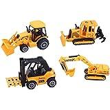 ToyZe® Kinder Baustellen Set Baumaschinen Planierraupe Gabelstapler Schaufellader Traktor Schaufelbagger Kinder Baustellenfahrzeuge 4er Set 12cm Baustellen Spielzeug Metallguss ab 3 Jahre