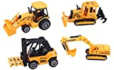 ToyZe® 5 Inch Metal Diecast Construction Vehicle Set, Bulldozer, Forklift, Front Loader Tractor, And Excavator. 4 Pack (Ages 3+)