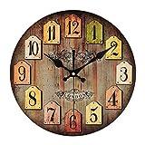Babimax Horloge Pendule Murale Style Vintage Vintage France Paris Pays coloré Style toscan de Style Arabe Design Horloge Murale en Bois Rond décoratif (Brun rétro)