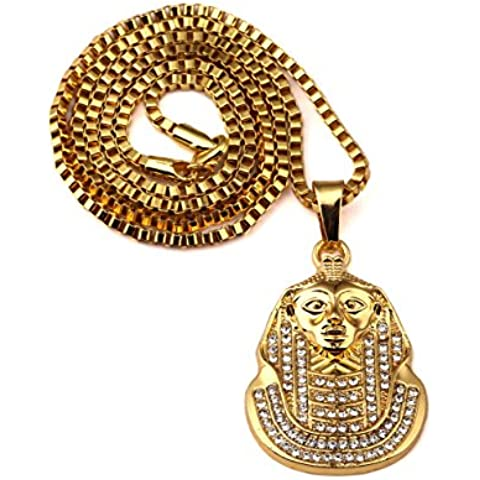 nyuk da uomo Classico Last King Hip Hop oro 18K catena collana con ciondolo in lega di zinco