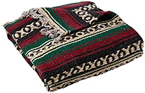 Direct Deluxe mexicain Yoga Couverture, Green/Burgundy