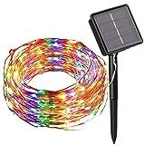 Lichterkette 100 LEDs Draußen/Innenbeleuchtung Solarbetriebene 10M Kupferdraht 2 Modi Wasserdicht IP65 für Garten,Zaun,Sonnenschirm,Terrasse,Dach,Party,Hochzeit,Festspiele und Haus Deko (Mehrfarbig)