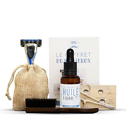 Coffret complet entretien barbe : brosse à barbe poils de sanglier + huile à barbe + Rasoir + Ciseaux + livret avec de nombreux conseils
