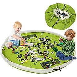 BELLESTYLE Sac de rangement Jouet,60 Pouces (150CM) Coton Grand Sac de Rangement de Jouets Organisateur Tapis Organisateur de Jouets pour Bébé Enfant (Vert)
