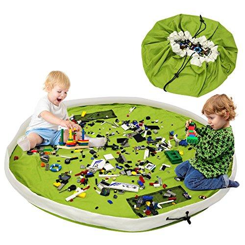Ende Innentaschen (BELLESTYLE Kinderspielzeug-Aufbewahrungsbeutel, Baumwoll-Segeltuch-bewegliches großes einfaches aufgeräumtes Spiel u. Aufbewahrungs-Matte - schnellere Aufräumung! (Grün, 150cm))