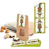 25marrone con fondo con finestra e pergamena inserto 7x 4x 20,5cm + 25piccoli Rosso Bianco Verde Natalizi Adesivi per wichteln 5x 15cm (14295) per cioccolatini e altri dolci