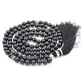 Gemstone Collier de Perles de Mala, Mala Bracelet, Collier Bouddhiste, noués Collier, Tassel Collier, Onyx Mala
