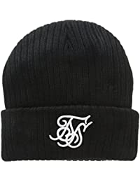 Sik Silk Ribbed Knit Contrast Embroidery Beanie, Chapka Homme