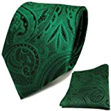 TigerTie Designer Krawatte + Einstecktuch grün smaragdgrün schwarz Paisley