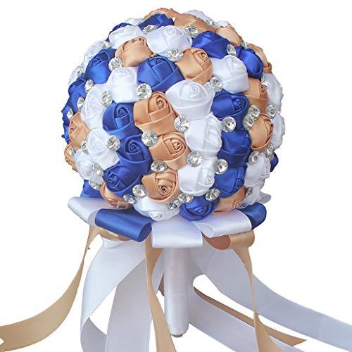 Zywtrade Hochzeits-Bouquet, Brautjungfer Bouquet Bridal Bouquet mit Crystals Soft Ribbons, Künstliche Rosenblüten für Hochzeit
