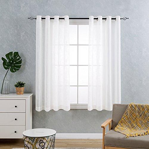 TOPICK 2er Pack Vorhänge Schal mit Ösen, vorhang Gardine, Auswahl 130 cm x 175cm ( H x B ), Weiß