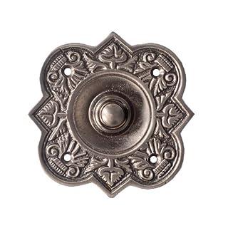 Adonai Hardware Parshandatha Decorative Brass Bell Push or Door Bell or Push Button (Antique Brushed Nickel)