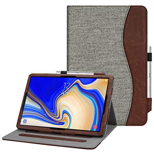 Fintie Hülle für Samsung Galaxy Tab S4 10.5 T830 / T835 2018 Tablet - Multi-Winkel Betrachtung Kunstleder Schutzhülle mit Dokumentschlitze & S Pen Halter, Auto Schlaf/Wach Funktion, Denim grau