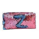 Cooljun Sac de crayon, Sirène Sequin Étui À Crayons Maquillage Cosmétique Pochette De Rangement Zipper Sac À Main Sac (Rose vif)
