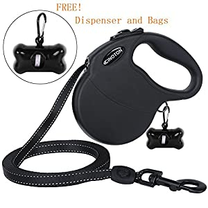 CINOTON-Large-Retractable-Dog-Leash-Reflective-Extendable-5M-16-ft-Dog-Lead-for-Medium-Large-Dogs-up-to-110lbs-Tangle-Free-One-Button-Break-Lock-Dog-Waste-Dispenser-and-Bags-included