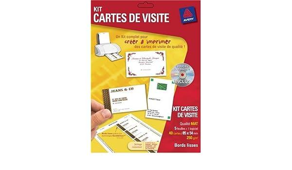 Avery Kit Cartes De Visite 5 Planches Soft Amazonfr Fournitures Bureau