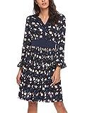 Meaneor Damen Chiffonkleid Blusenkleid Langarm Kleid Blumen V-Ausschnitt Vintage Wickelkleid Schwarz Blau Rot Gr.S-XL