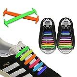 JANIRO Elastische Silikon Schnürsenkel – flexibler Schuhbänder Ersatz ohne Binden - Kinder & Erwachsene - 20 Stück - farbig