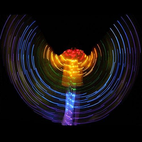 Wgwioo Dance accessories Frau Bauchtanz isis flügel 5 Farben LED licht glühend Schmetterling 360 Grad große stützen tanzendes ()