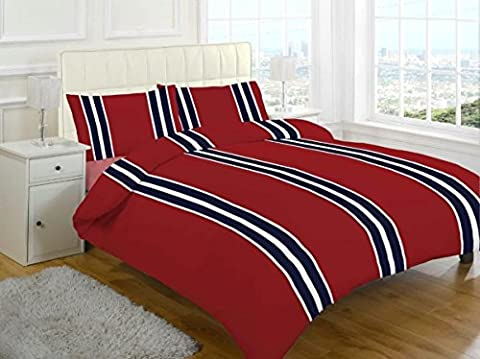 100% Brushed Cotton Luxury Warm Thermal Flannelette Duvet Quilt Cover Set Single Double King (Single, Stripe Red)
