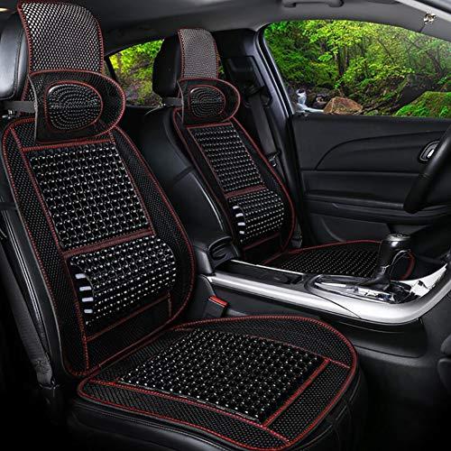 Sommer Holzperlen Autositzbezug,mit Massage-Lendenkissen und -Kissen, für PKW-LKW Macht das Fahren auf Langen Reisen erträglicher und weniger schmerzhaft, Black (3 Stil),C