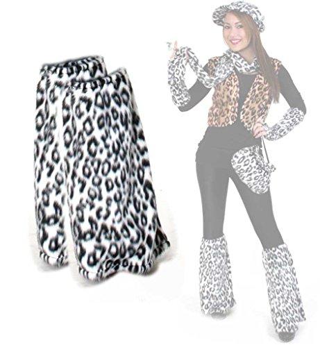 Narr Kostüm Lila Kinder Und Schwarz - Beinstulpen, Plüsch - Stulpen, für Erwachsene, Tier - Muster, viele Verschiedene Designs, große Auswahl, Accessoire, ideal für Karneval (Leo Weiß)
