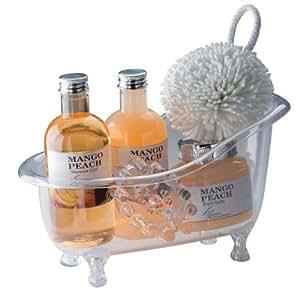 5-teiliges Pfirsich-Mango Badeset in einer kleinen Acrylwanne mit Duschgel von noTrash2003